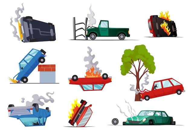 Ongevallen met beschadigde wegauto's. Premium Vector