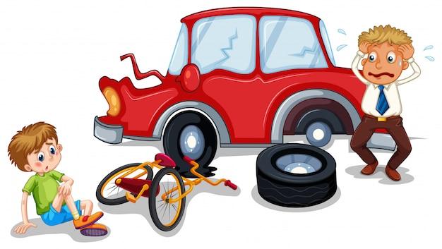 Ongevallenscène met auto-ongeluk en gewonde jongen Gratis Vector