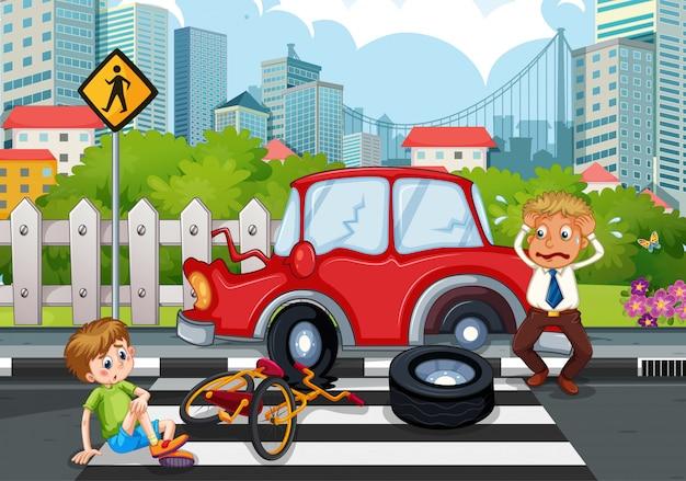 Ongevallenscène met auto-ongeluk in de stad Gratis Vector