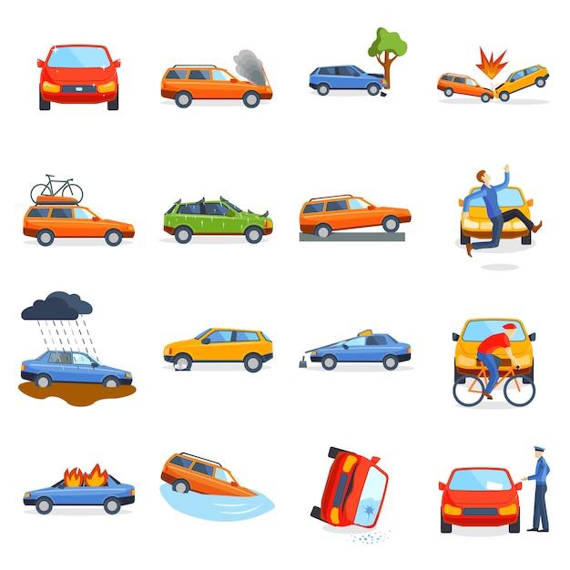 Ongevallenweg op straat beschadigde auto's na de botsingsvector van de botsingsauto. Premium Vector