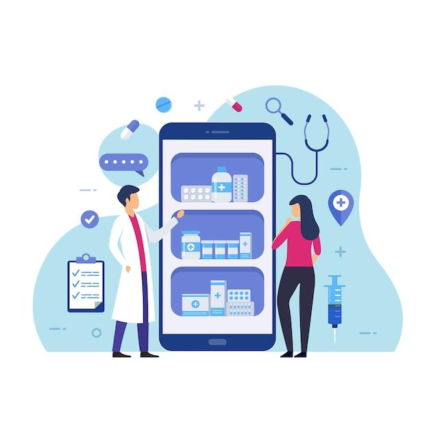 Online apotheek koopt medicijnen via online ontwerpconcept Premium Vector