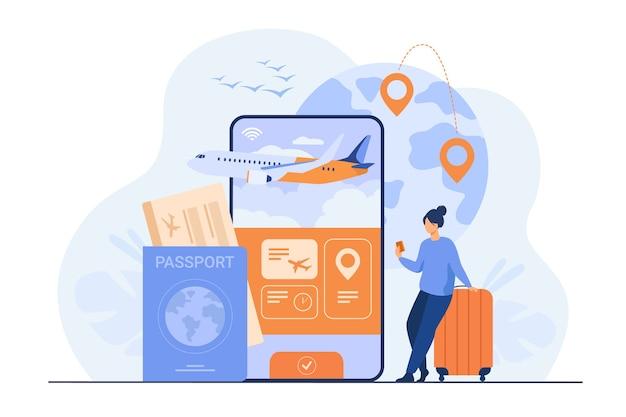 Online app voor toerisme. reiziger met mobiele telefoon en paspoort die een vliegticket boekt of koopt. Gratis Vector