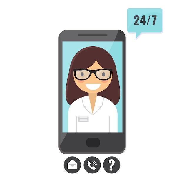 Online arts concept. patiëntenconsult via smartphone, applicatie voor medische ondersteuning. Premium Vector