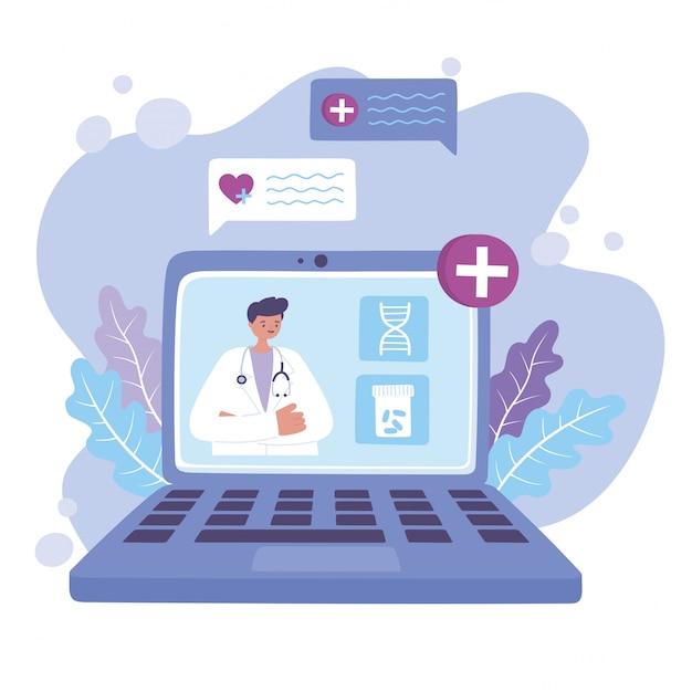 Online arts, video van een arts die een medische app gebruikt of een medische app voor medische zorg of consultatiedienst Premium Vector
