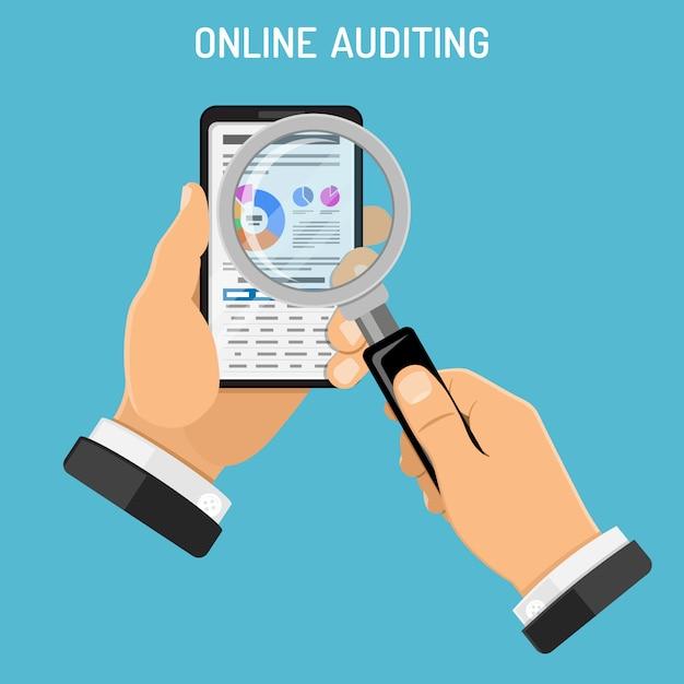 Online auditing, fiscaal proces, boekhoudconcept Premium Vector