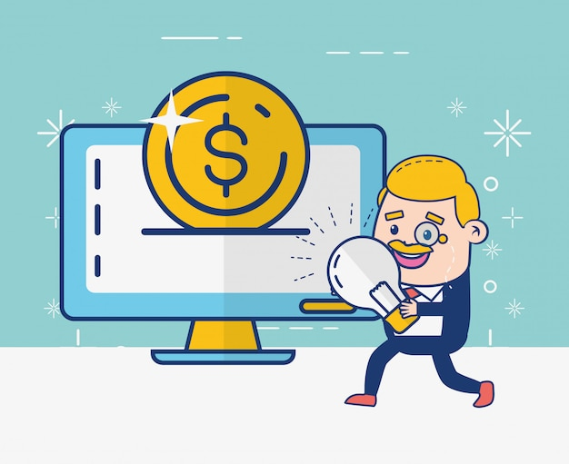 Online bankier persoon Gratis Vector