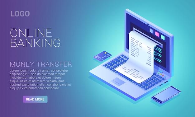 Online bankieren dienstverleningsconcept, controleren vanaf laptopscherm, internetbetaling Premium Vector