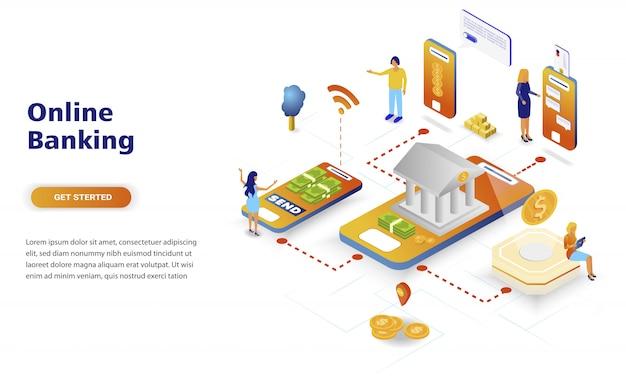 Online bankieren moderne platte ontwerp isometrische concept Premium Vector