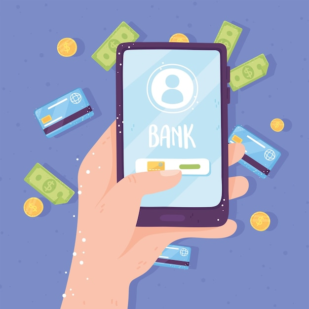 Online bankieren smartphone app scherm bankkaart munten en rekeningen illustratie Premium Vector