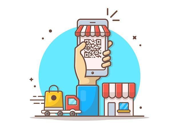 Online barcode e-commerce vector clipart illustratie Premium Vector