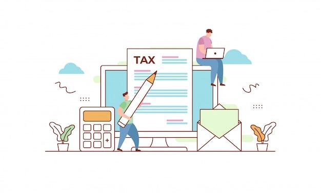 Online belasting illustratie Premium Vector
