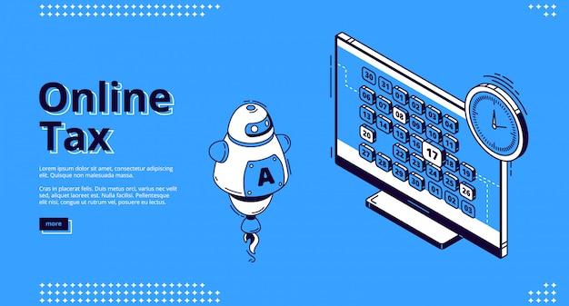 Online belasting isometrische landing webbanner, belastingheffing Gratis Vector