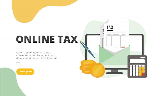 Online belasting vlakke ontwerp banner illustratie Premium Vector
