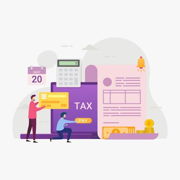 Online belastingbetalingsservice door computersillustratie Premium Vector
