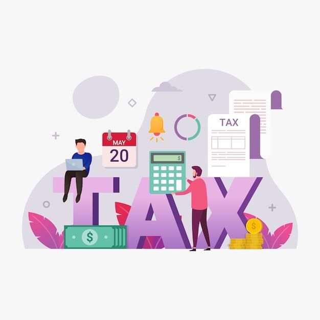 Online belastingbetalingsservice met kleine mensenillustratie Premium Vector