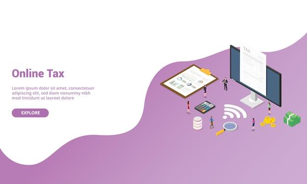 Online belastingrapport isometrisch voor websitesjabloon of banner voor startpagina Premium Vector