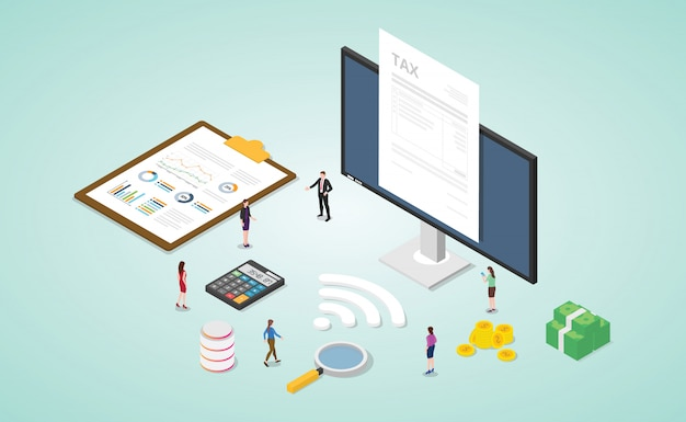 Online belastingrapport met papieren document en monitor met geld en financiën gouden berekening met moderne isometrische vlakke stijl Premium Vector