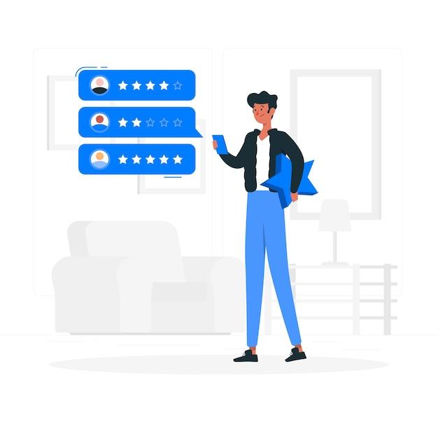 Online beoordeling concept illustratie Gratis Vector