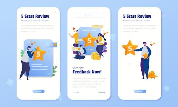 Online beoordeling en feedback met 5-sterrenbeoordeling op de schermset aan boord Premium Vector