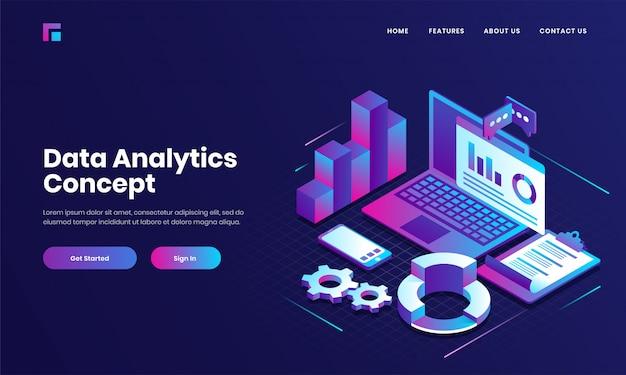 Online berichten- of financiële app in laptop met smartphone en checklistpapier voor conceptgebaseerd isometrisch ontwerp van data analytics. Premium Vector