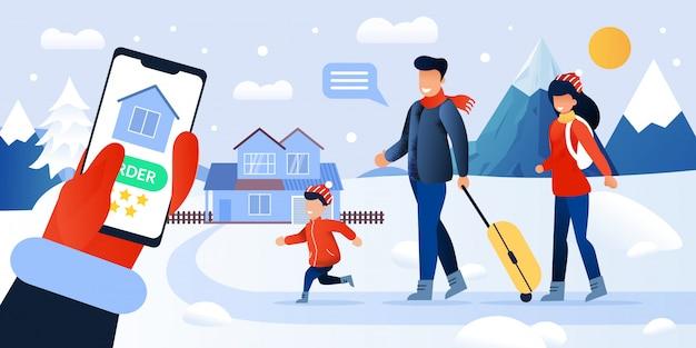 Online bestelling boeken huis in bergen service illustratie Premium Vector