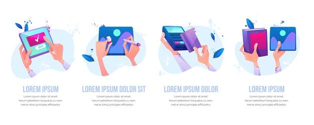 Online bestelling, grafisch ontwerp schilderen, kaart betalen Gratis Vector