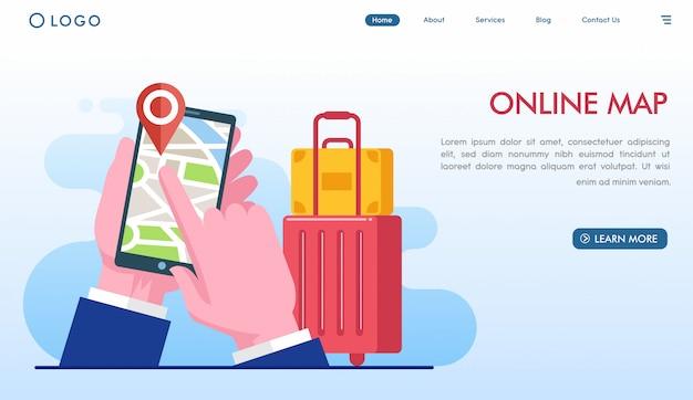Online bestemmingspagina voor kaarten Premium Vector