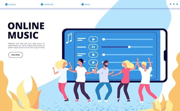 Online bestemmingspagina voor muziek. vector mobiele entertainment illustratie. gelukkige dansende mensen en webpagina met afspeellijsten Premium Vector