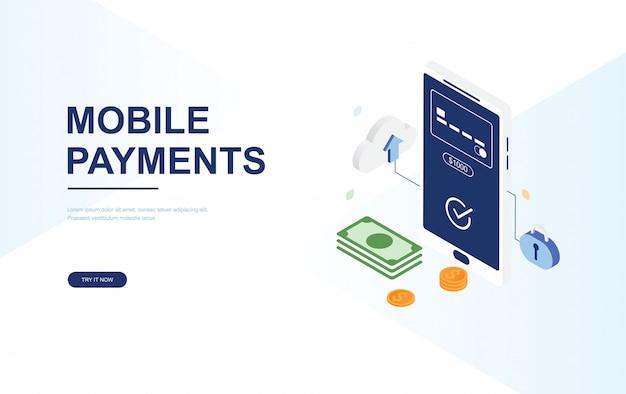 Online betaalconcept. sjabloon voor vlakke isometrische bestemmingspagina web Premium Vector