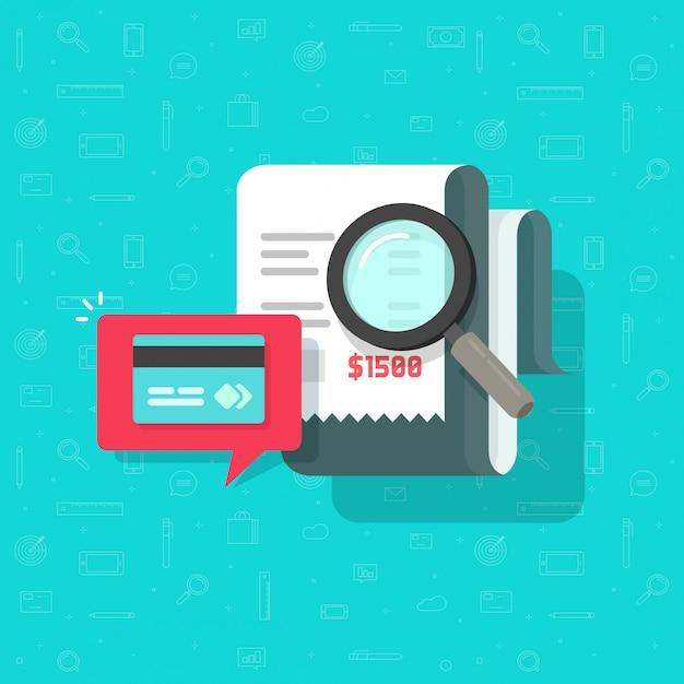 Online betaling audit analyseren of factuur betaling onderzoek illustratie platte cartoon Premium Vector