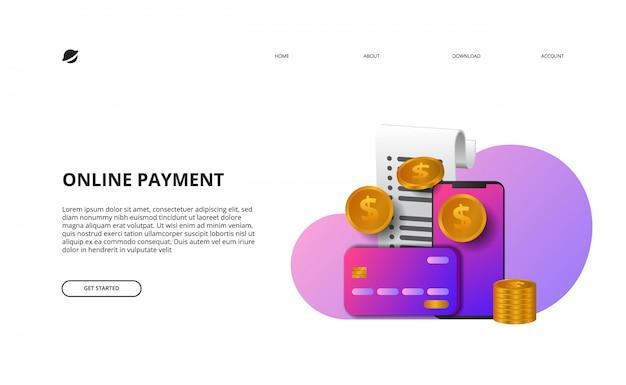 Online betaling bestemmingspagina illustratie zakelijke financiën e commerce concept Premium Vector