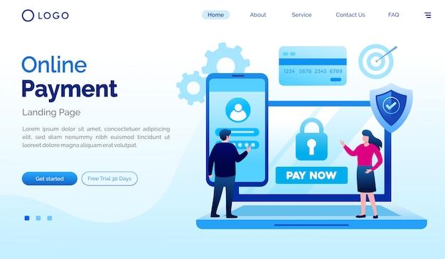 Online betaling bestemmingspagina website illustratie vector sjabloon Premium Vector