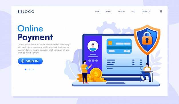 Online betaling bestemmingspagina website sjabloon Premium Vector