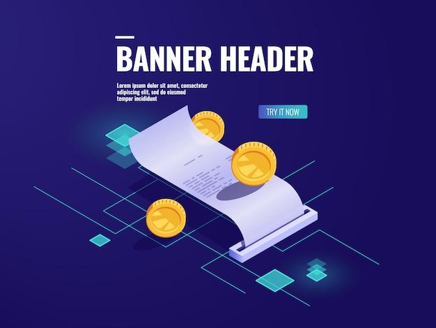Online betaling, papieren bon isometrische pictogram, belasting met munt, geld transactie concept Gratis Vector