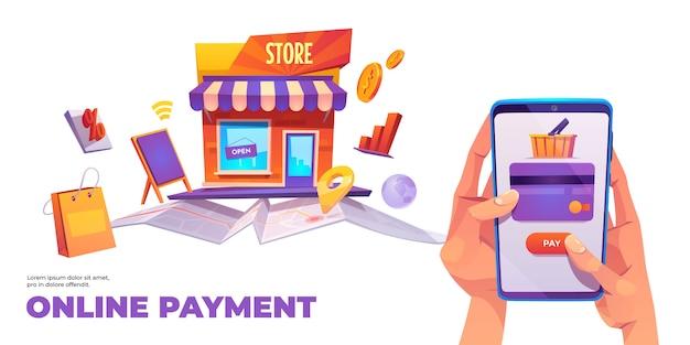 Online betalingsbanner, smartphonecreditcard Gratis Vector