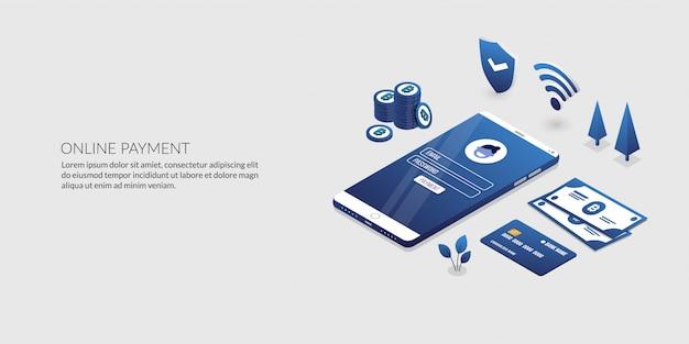 Online betalingsbeveiligingstransactie, isometrisch internetbankieren Premium Vector