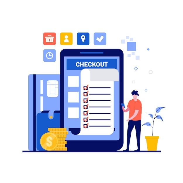 Online betalingsconcept met karakter, papieren factuur, creditcard. Premium Vector