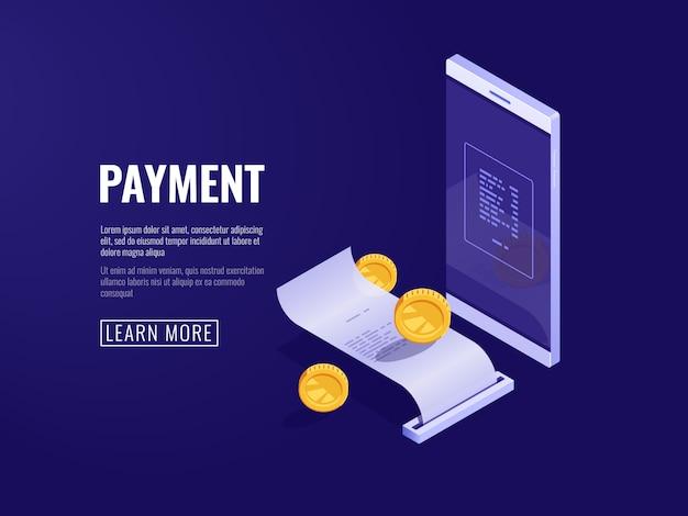 Online betalingsconcept met mobiele telefoon en papieren bon, elektronekening en factureringssysteem Gratis Vector