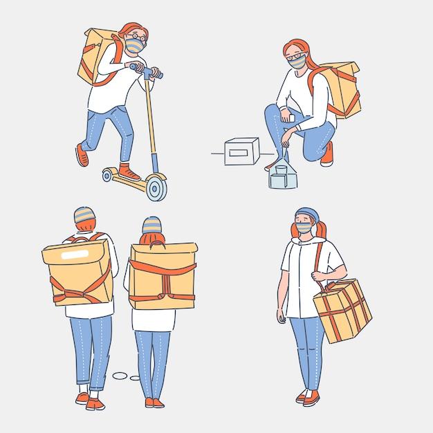 Online bezorgservice cartoon overzicht illustratie. mensen met beschermende gezichtsmaskers die goederen en voedsel naar klanten vervoeren. contactloze levering tijdens de uitbraak van coronavirus covid-19. Premium Vector