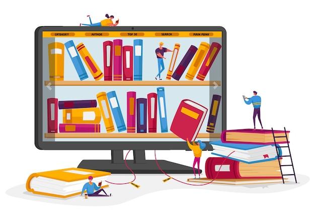Online bibliotheek en mediaboeken archiefconcept. Premium Vector