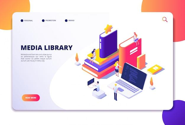 Online bibliotheek isometrisch concept. mensen in bibliotheek, boeken laptops. landingspagina elektronische bibliotheek voor leestechnologie Premium Vector