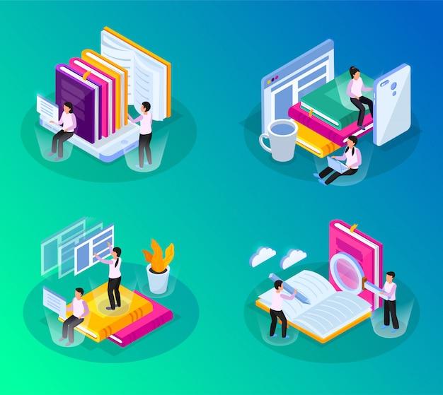 Online bibliotheek isometrische gloed 4x1 set met composities van conceptuele afbeeldingen met boekengadgets en mensen Gratis Vector