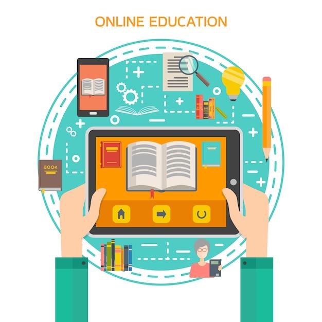 Online bibliotheekconcept Gratis Vector