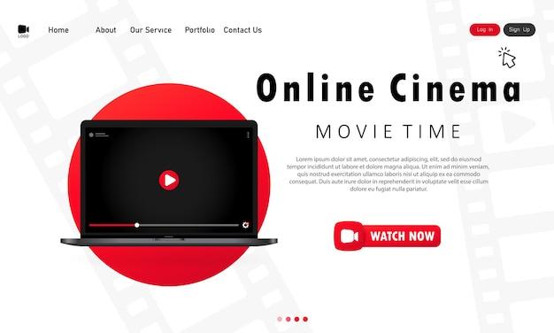 Online bioscoop banner of bioscoop website paginasjabloon Premium Vector