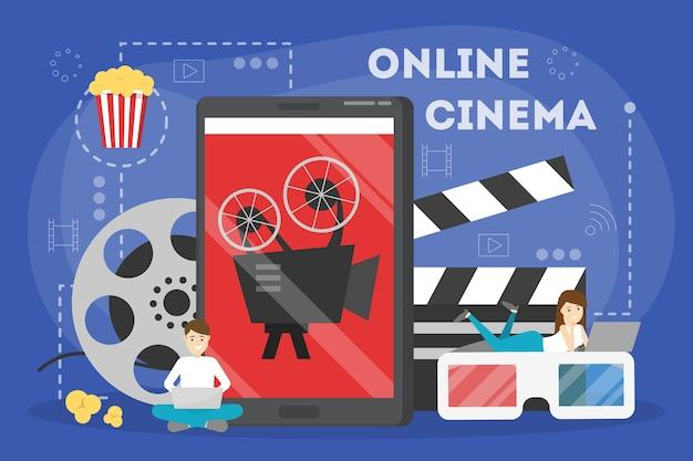 Online bioscoop concept. thuis entertainment met popcorn Premium Vector