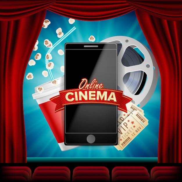 Online bioscoop met smartphone. rood gordijn. theater. 3d online cinema. Premium Vector