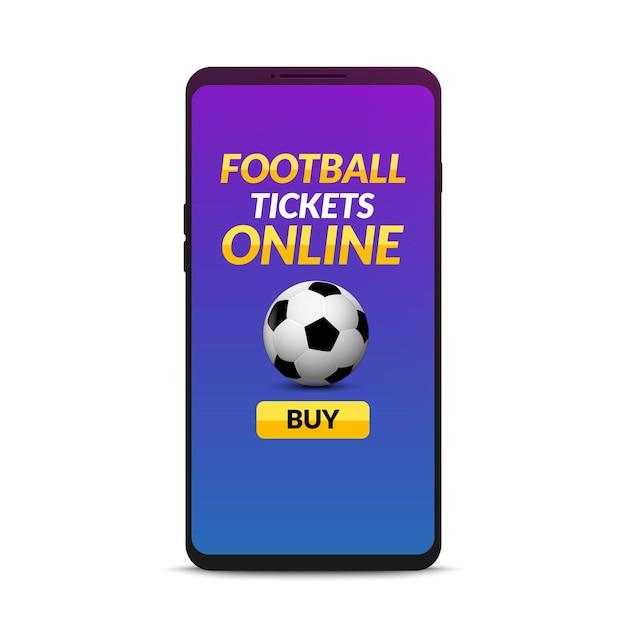 Online boeken van voetbaltickets. koop online mobiel ticket op smartphone. Premium Vector
