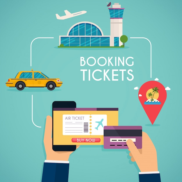 Online boeking aangevinkt. koop ticket online. Premium Vector