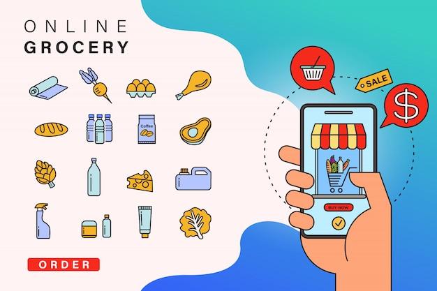 Online boodschappen bestellen via de app via de smartphone Premium Vector