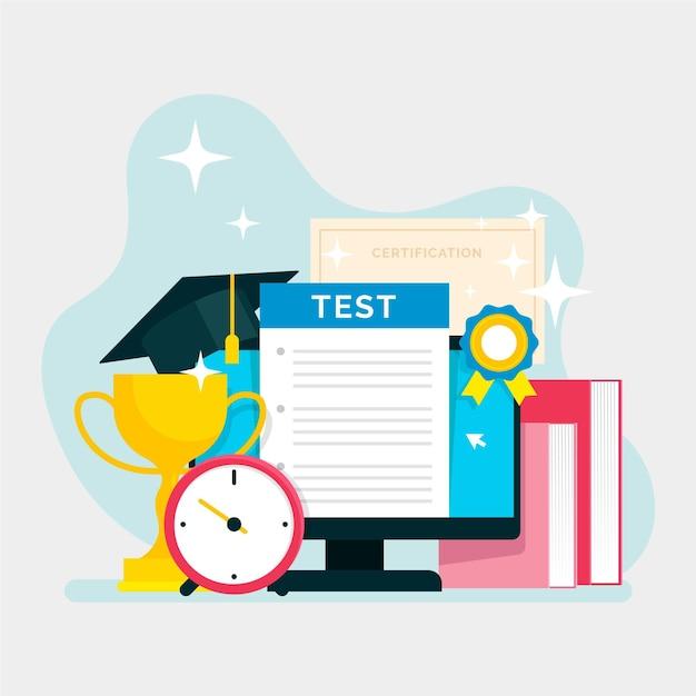 Online certificering illustratieontwerp Gratis Vector